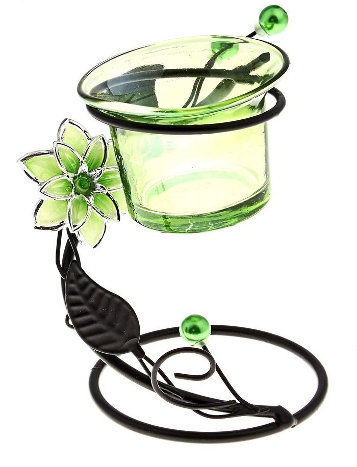 Подсвечник Цветок жемчужинки спираль зеленый