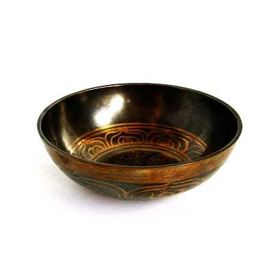 Тибетская чаша, с орнаментом, низкая