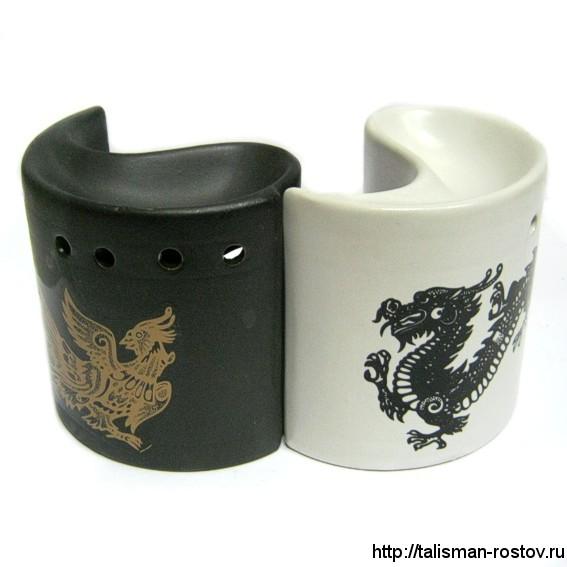 Аромалампа Инь-ян с драконом, двойная